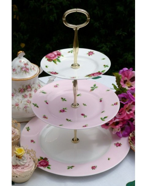 (OUT OF STOCK) ROYAL ALBERT  NEW COUNTRY ROSES CAKE STAND